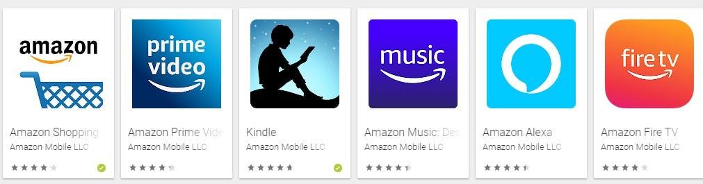 Outros aplicativos da Amazon: Prime Video, Kindle, Amazon Music, Amazon Alexa, Amazon Fire TV