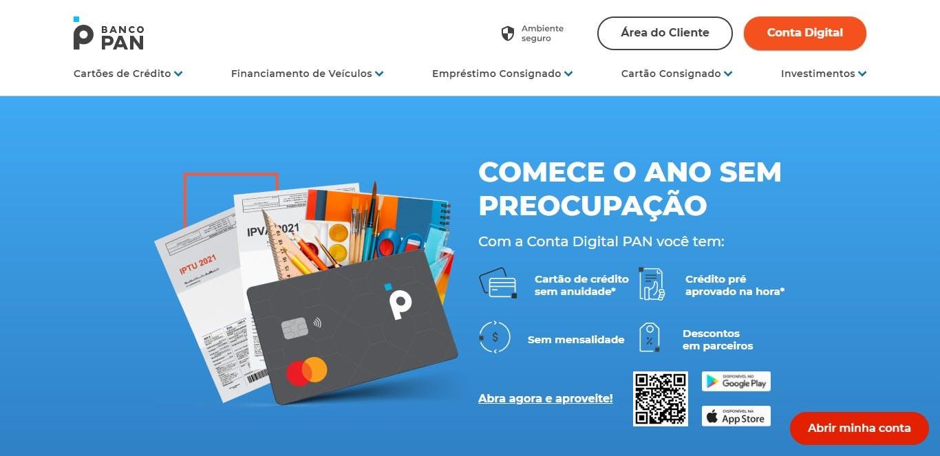 página inicial da plataforma Banco PAN
