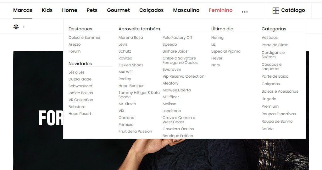 barra de categorias de produtos da Privalia