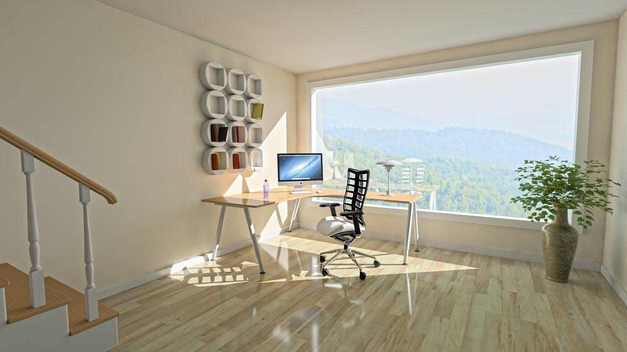 projeto de uma área para trabalho remoto, com mesa em L, cadeira e outros acessórios