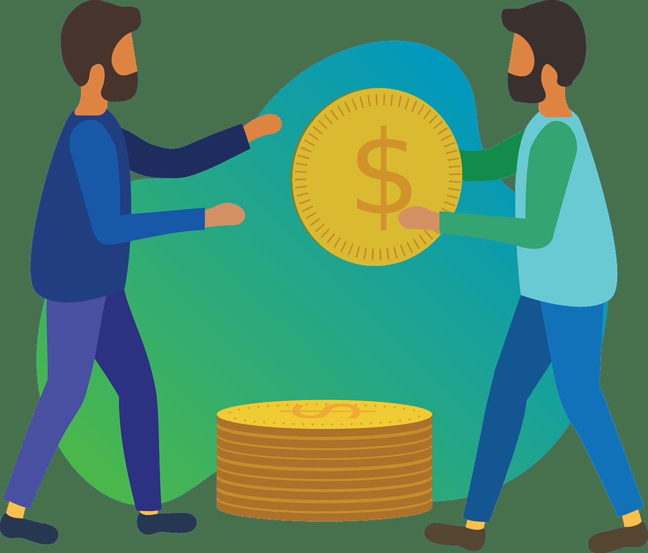 ilustração de dois homens, um entregando uma moeda ao outro