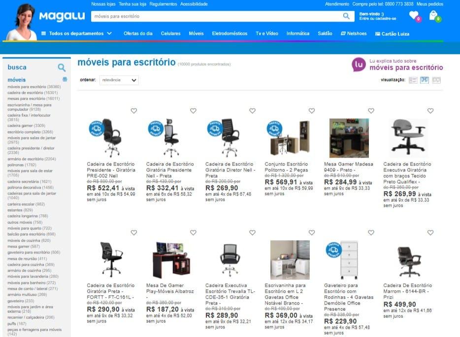 """resultado da busca """"móveis para escritório"""" no site da Magazine Luiza"""