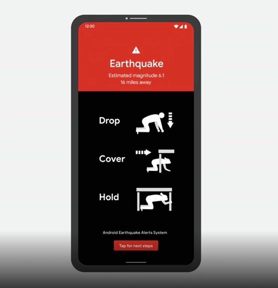 Foto de divulgação do Google mostrando o recurso de alerta de terremotos