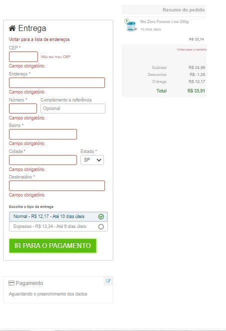 página de finalização de compra