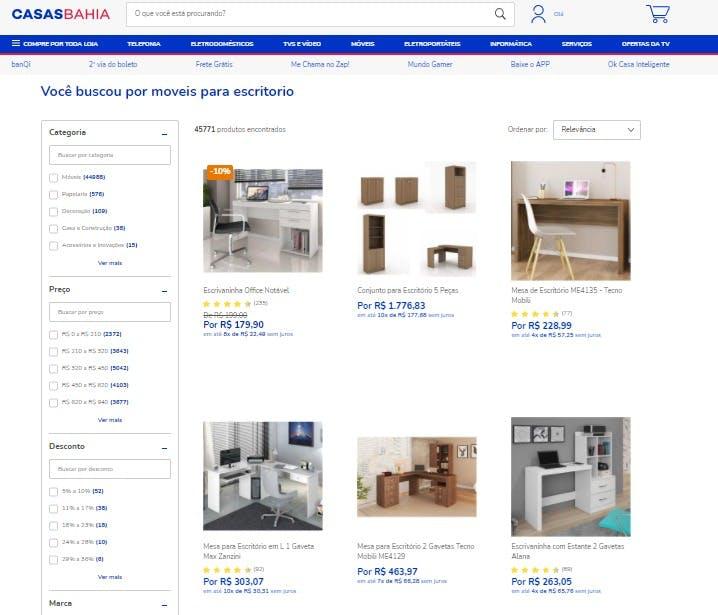 """resultado da busca """"móveis para escritório"""" no site da Casas Bahia"""