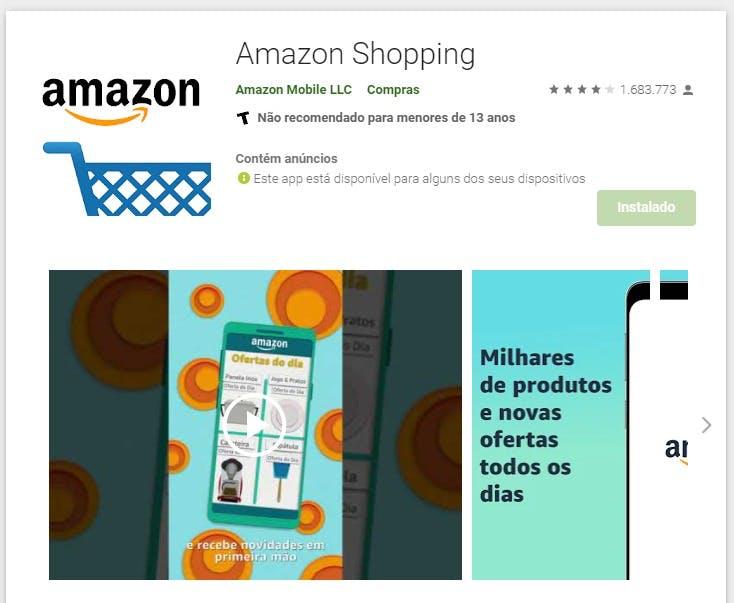 Aplicativo Amazon Shopping no Google Play
