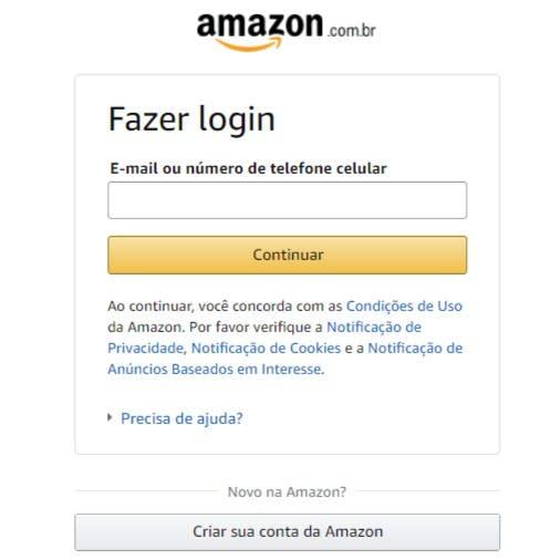 Área para login ou cadastro do site da amazon