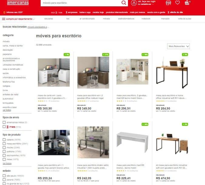 """resultado da busca """"móveis para escritório"""" no site da Americanas"""