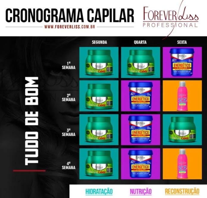 """cronograma capilar semanal """"Tudo de Bom"""" retirado do site www.foreverliss.com.br"""
