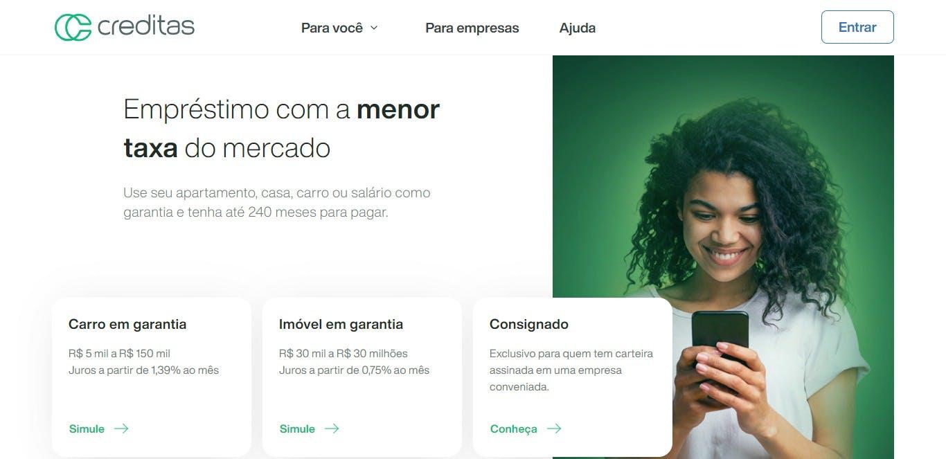 página inicial da plataforma Creditas
