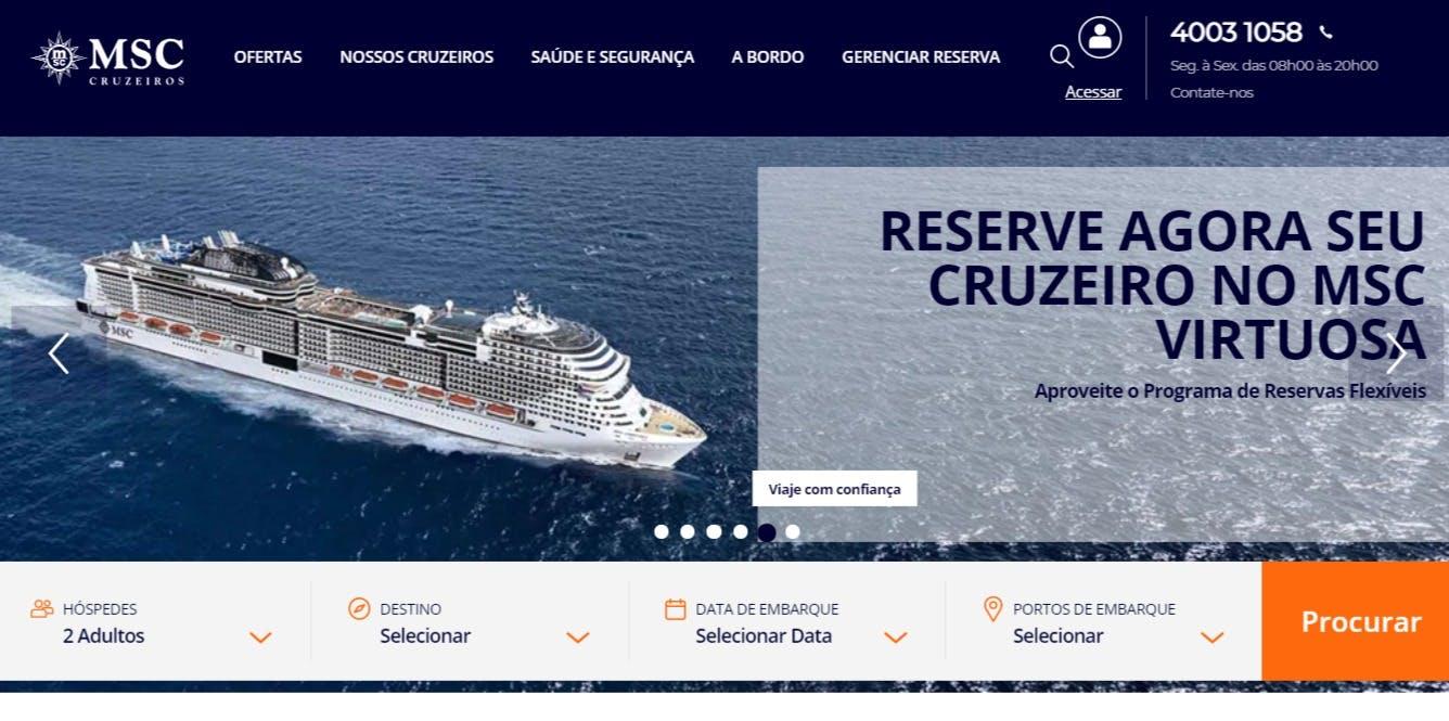 página inicial da msccruzeiros.com