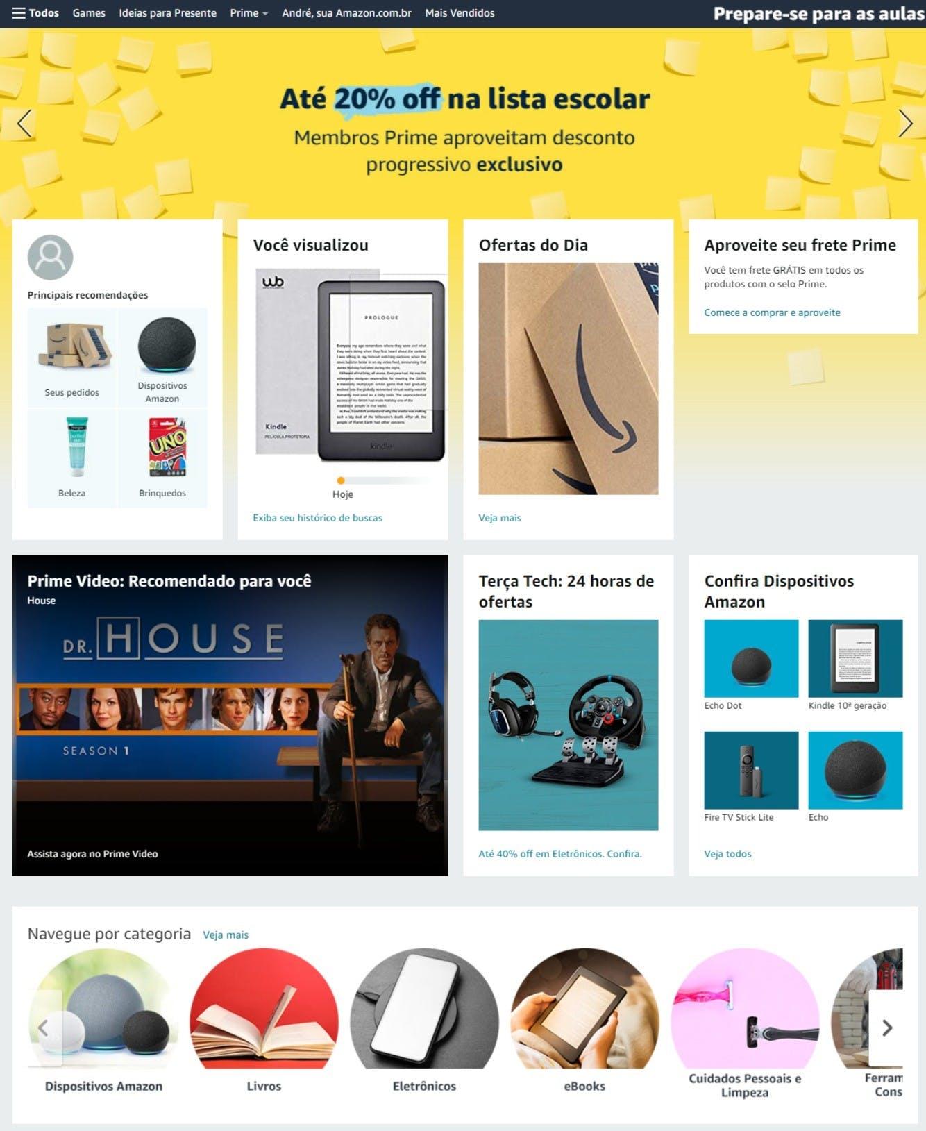 ofertas, produtos e categorias disponíveis no site da Amazon