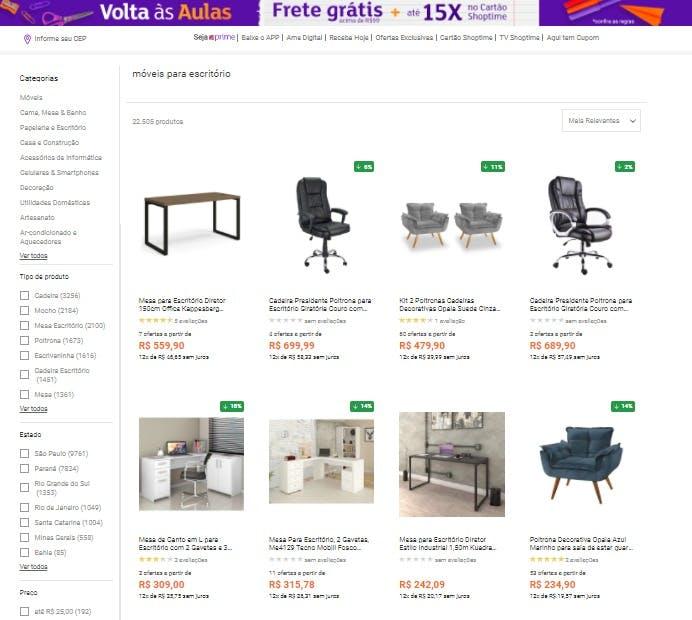 """resultado da busca """"móveis para escritório"""" no site da Shoptime"""