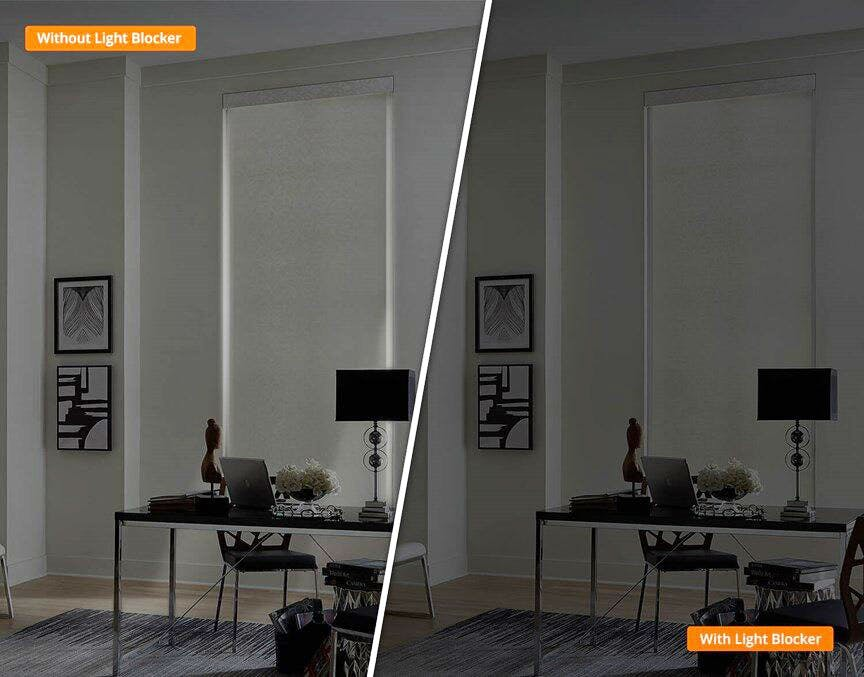 before and after comparison of a roller shade with and without light blockers.