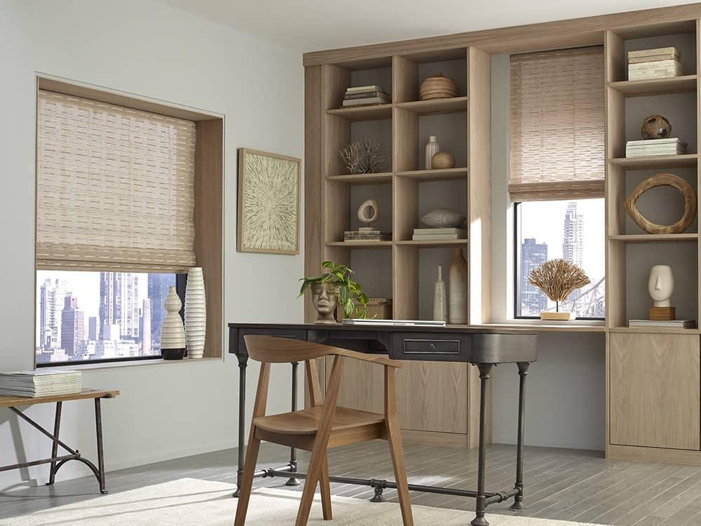 natural inspired office with sheer bamboo shades