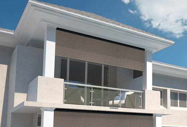 modern house balcony with brown sun shades attatched to roof