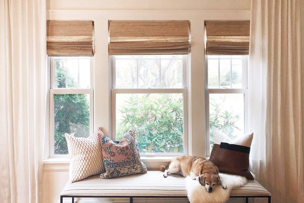 A dog rests on a window seat below woven wood shades and draperies.