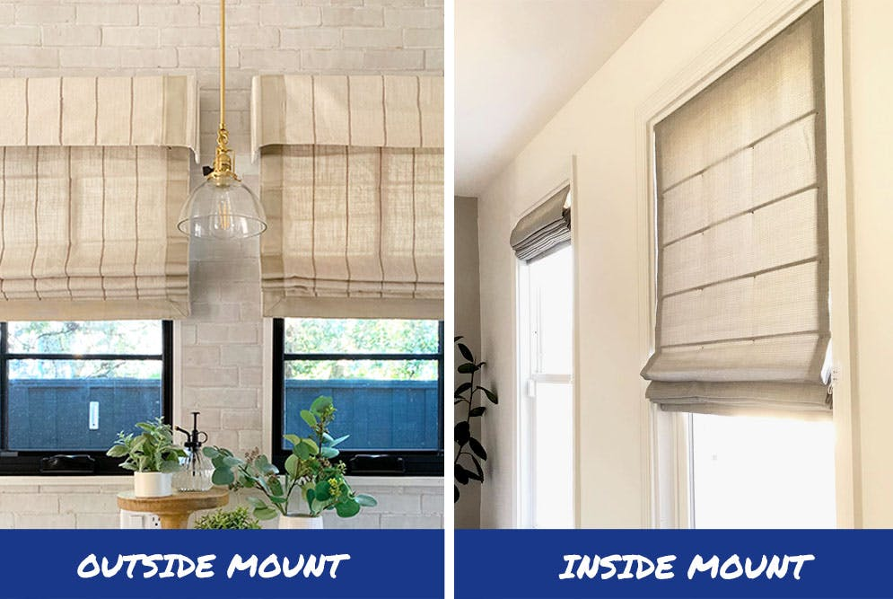 outside mount roman shades with valances on the left and inside mount waterfall style on the right.