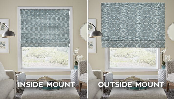 graphic showing the difference between inside mount and outside moutn blinds installation