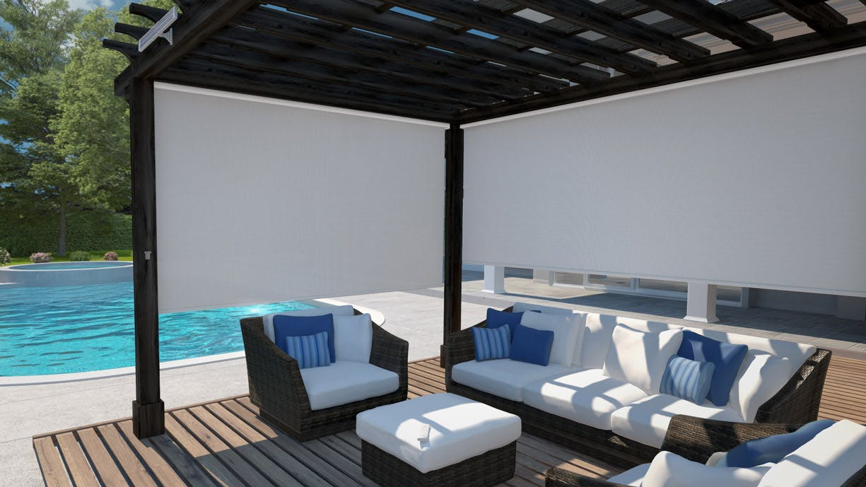 pergola next to pool with white sun blocking exterior shades