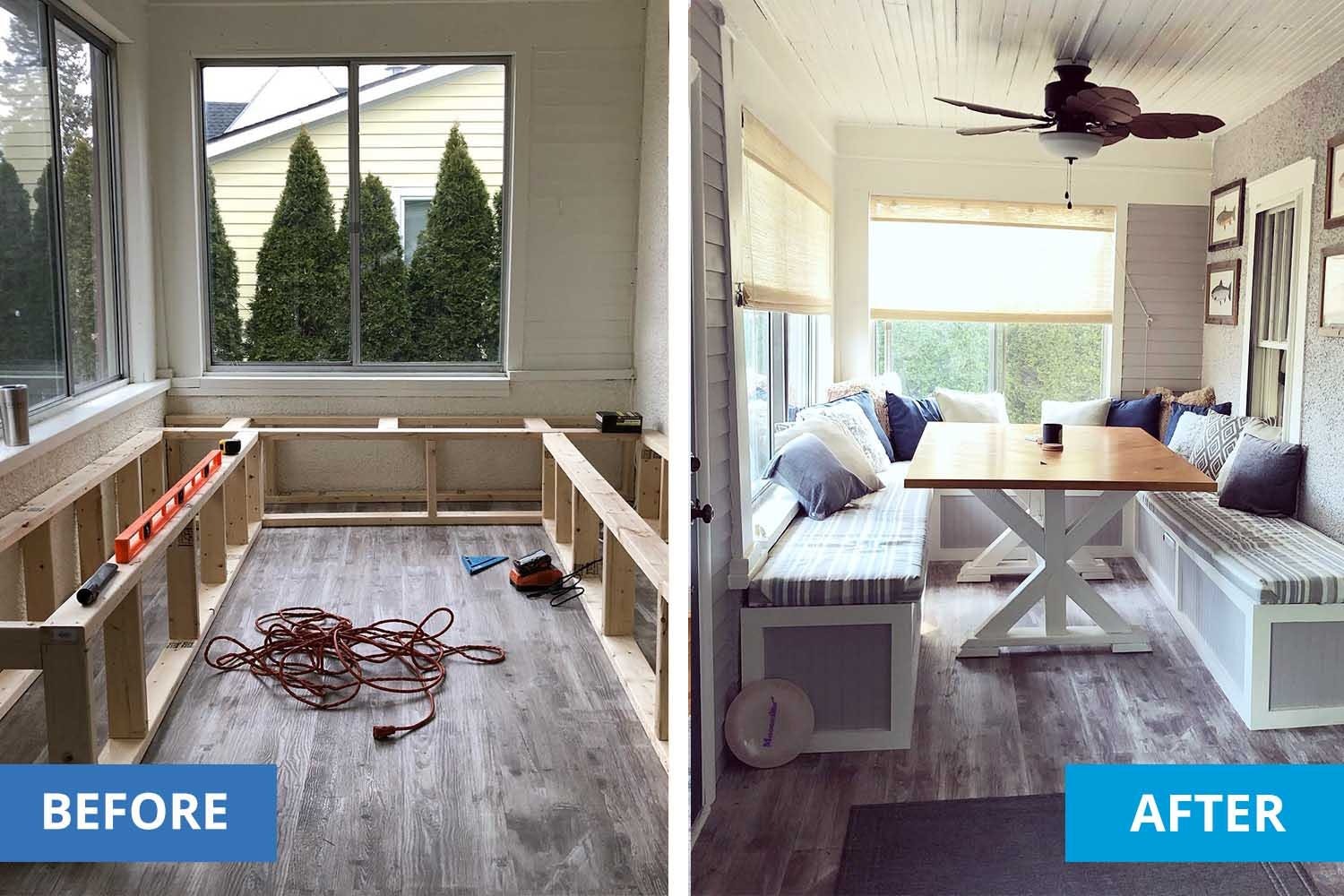 Left shows the construction process for a custom bench and breakfast nook. Right shows the finished nook.