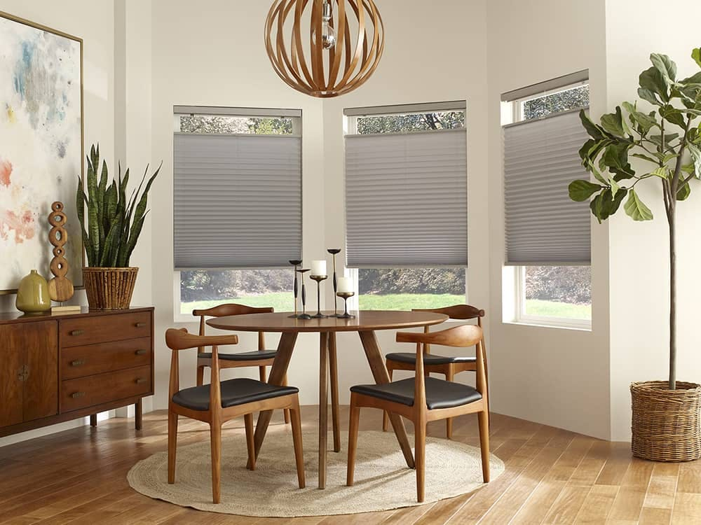 breakfast nook with grey top down bottom up pleated shades