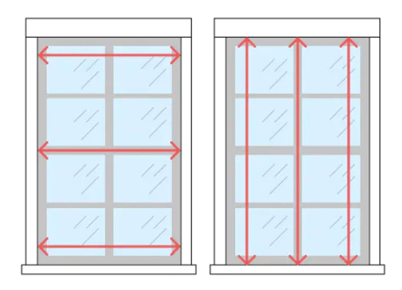 diagram showing where to measure the width and height of a window.