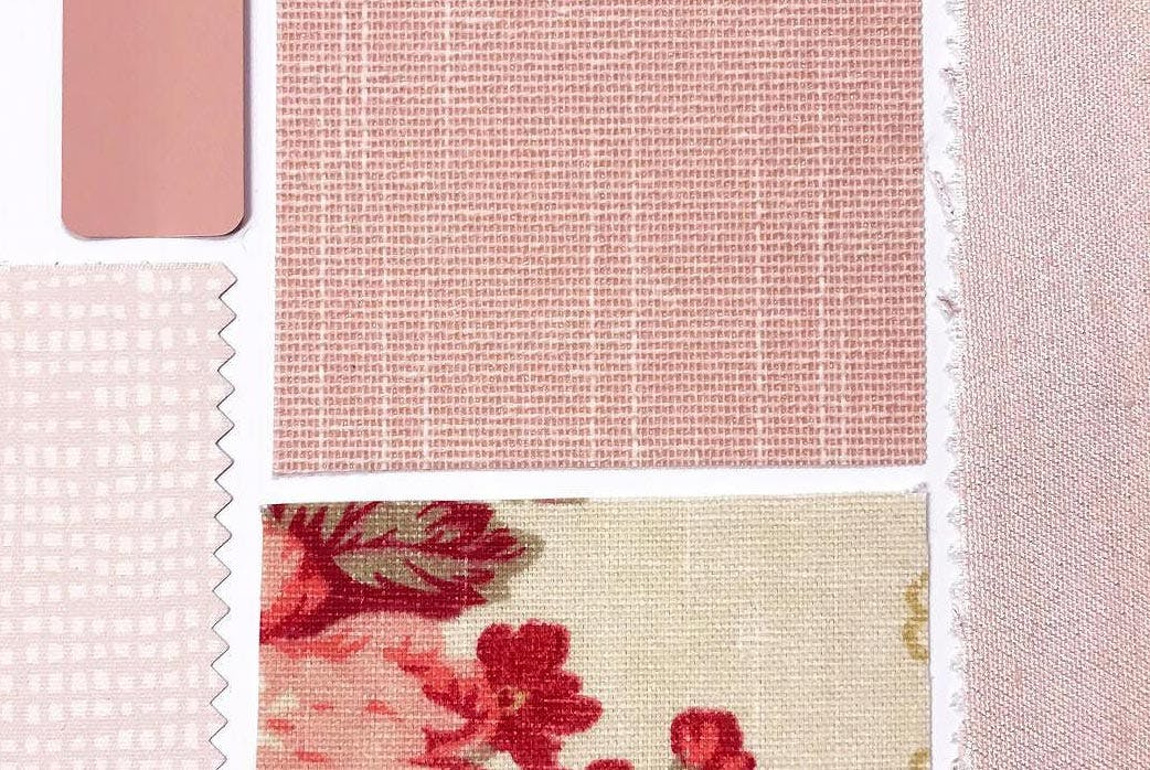 flatlay of pink and red window treatment samples
