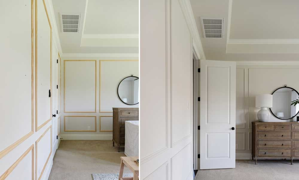 beofr and after wall molding install in bedroom