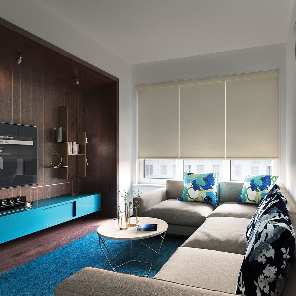 modern tv room with sectional couch and blackout roller shades.