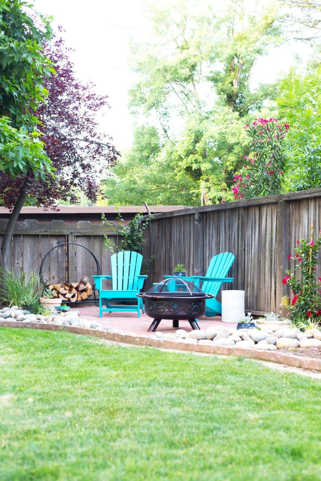 diy paver patio in corner of backyard