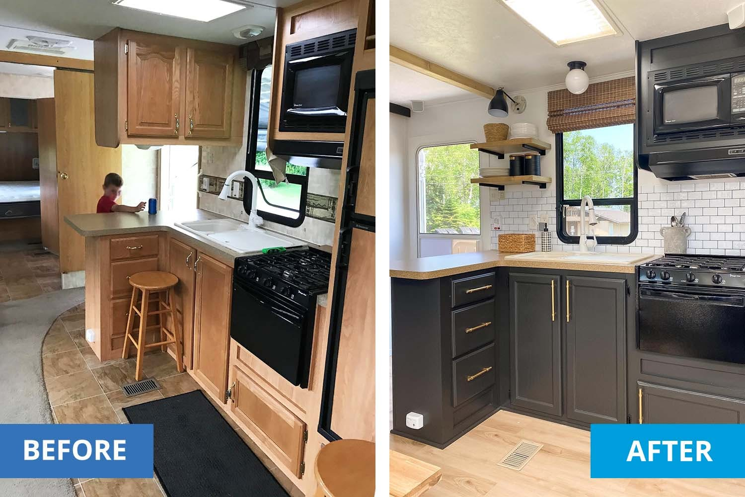 before and after photos of an RV kitchen remodel.