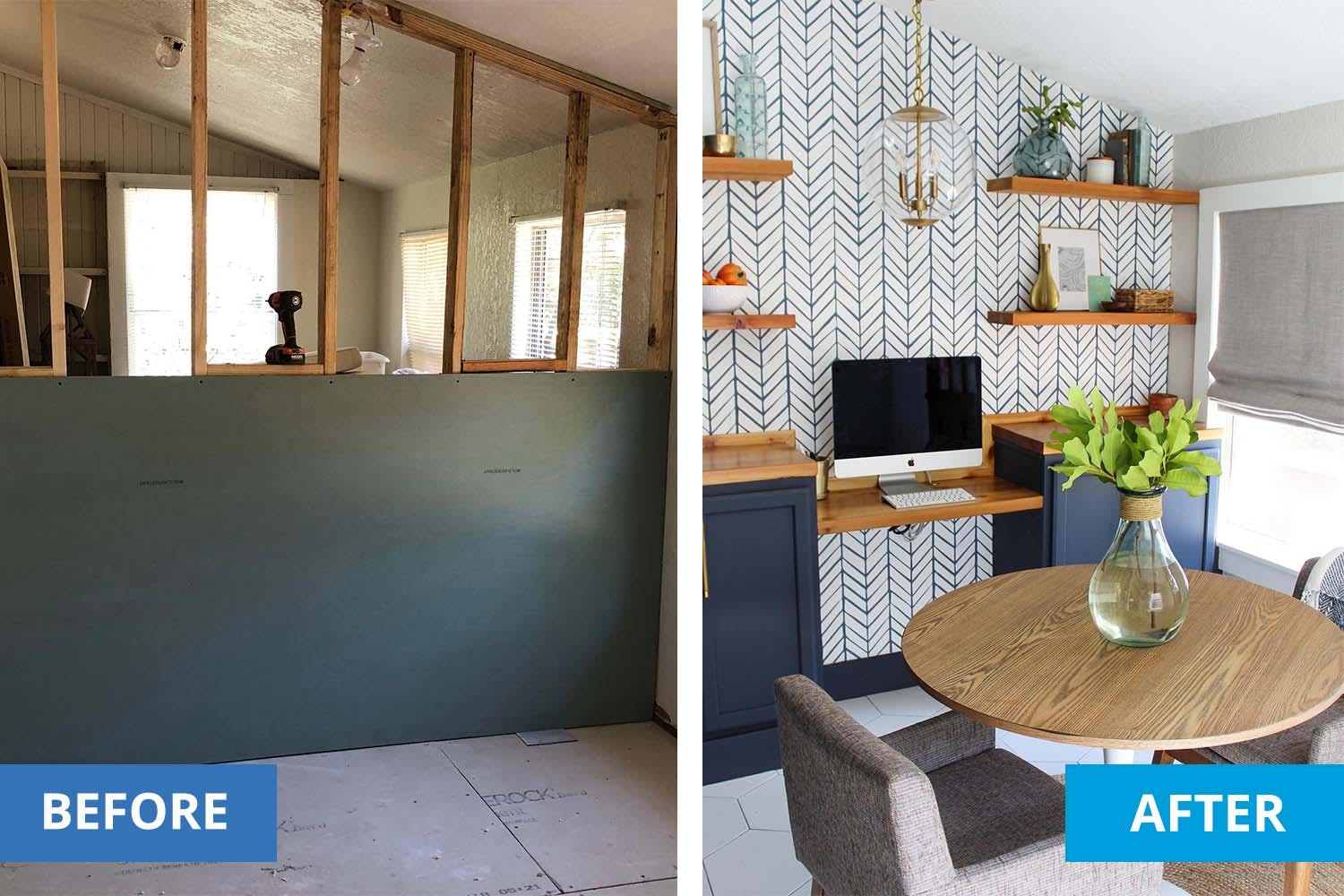 left shows the process of creating a divider wall. Right shows the complete divider wall, furnished as a workspace off the kitchen.