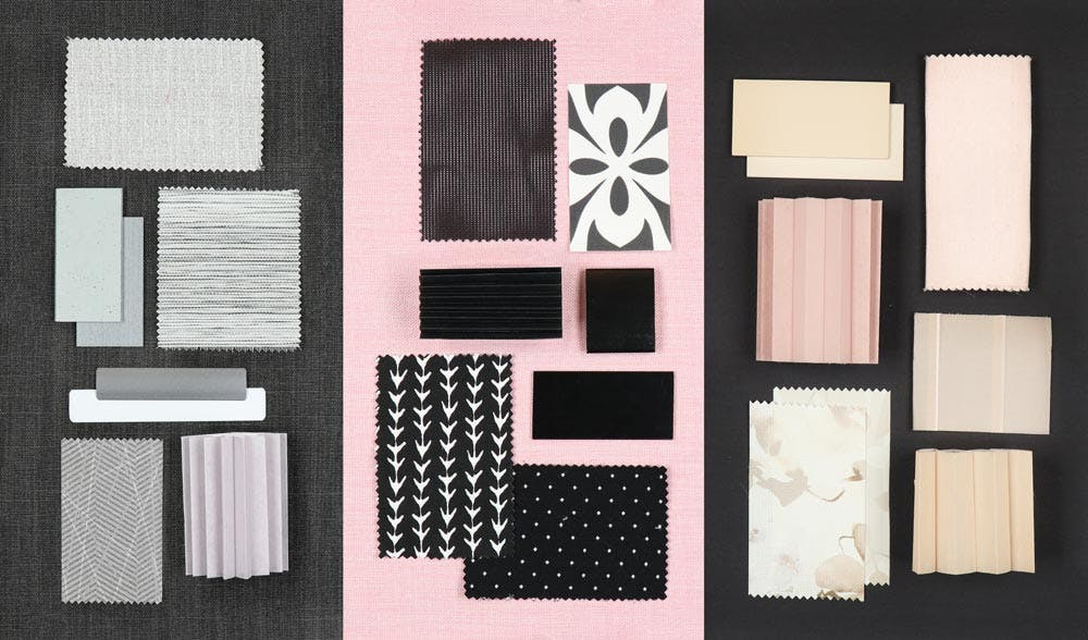 Flat lay showing blind and shade samples in grey, pink and black.