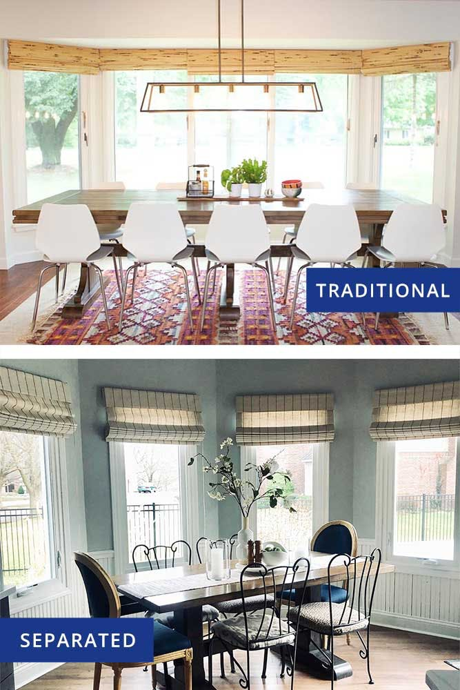 traditional vs separated bay window configuration styles.