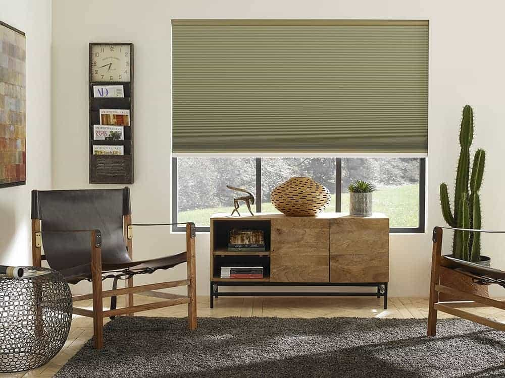 Sage green cellular shades in a rustic modern living room.