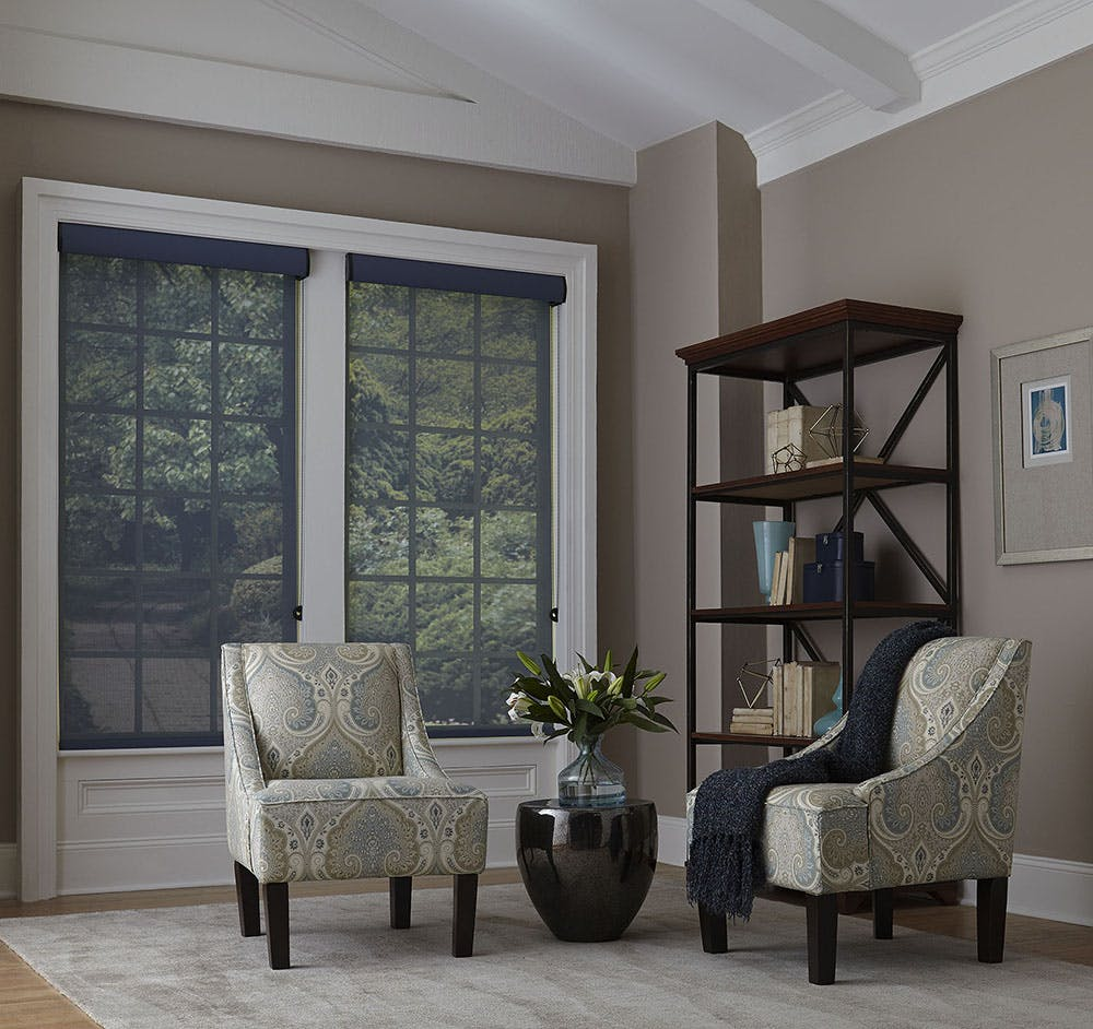 Traditional living room with black solar shades, two fabric chairs and an industrial shelf in the corner.