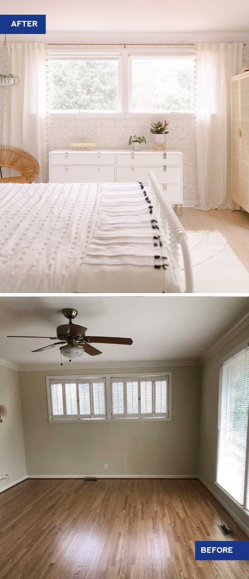 before and after graphic of bedroom with old plantation shutters and then white roller shades and curtains