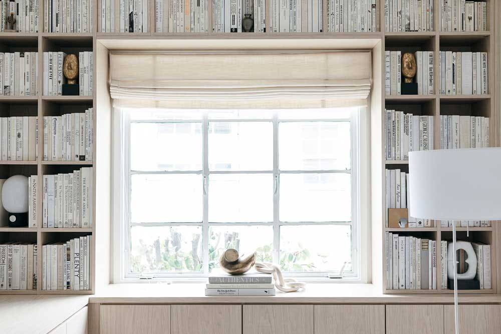 roman shade for window seat in office library