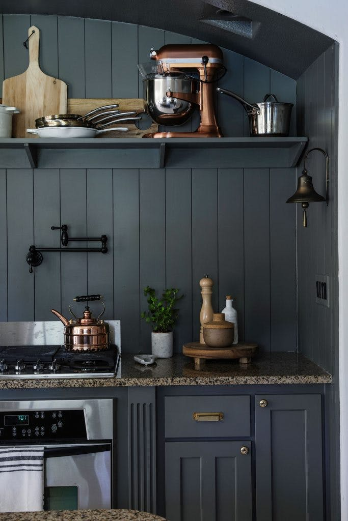 dark grey kitchen stove alcove