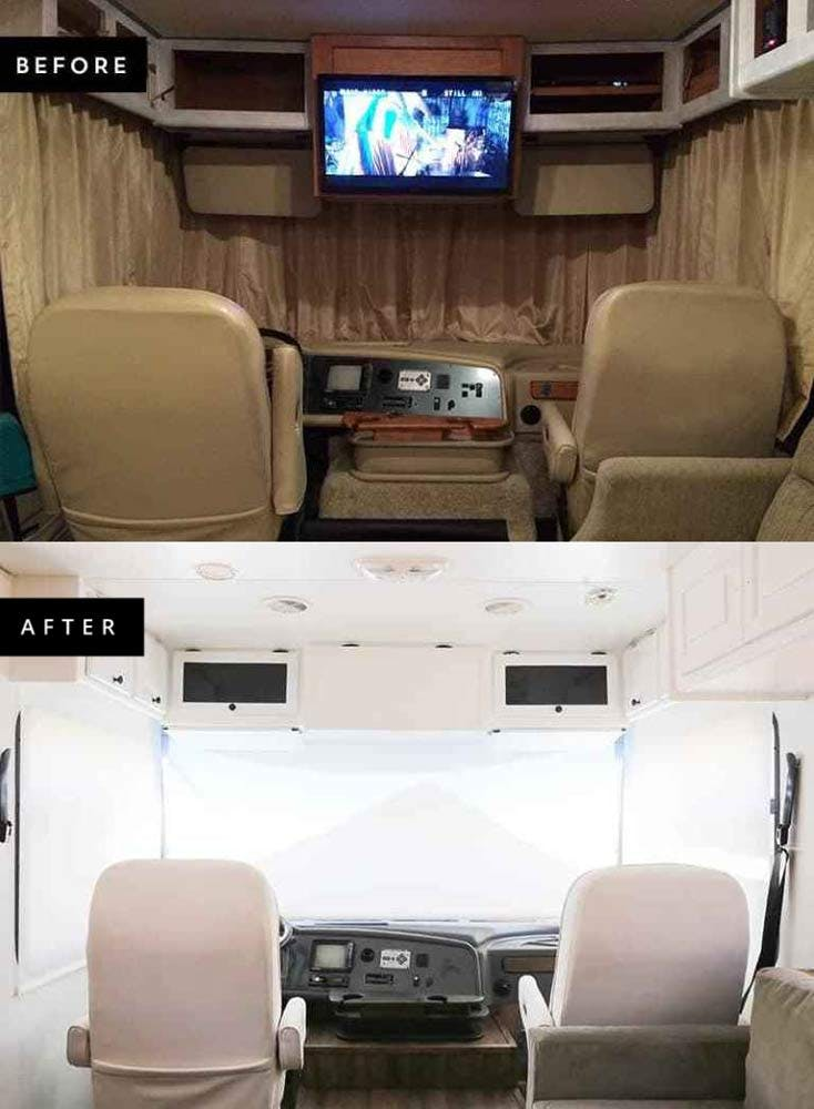before and after photos showing an RV makeover using roller shades.