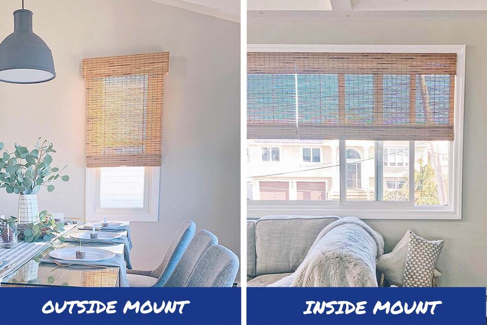 and outside mount woven wood shade on the left and an inside mount woven wood shade on the right.