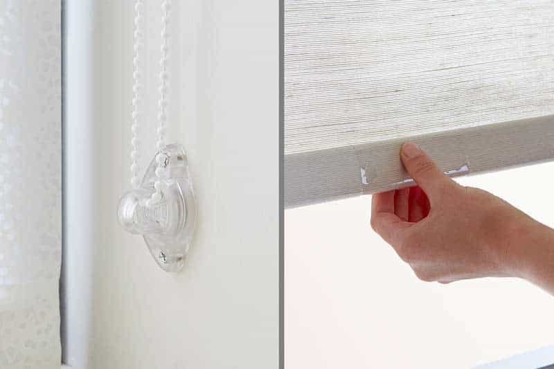 Side by side comparison of cordloop lift and cordless lift for roller shades.