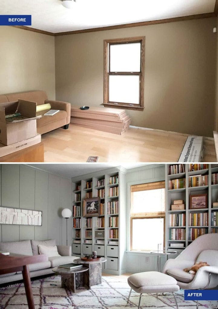 before and after of beige office remodel