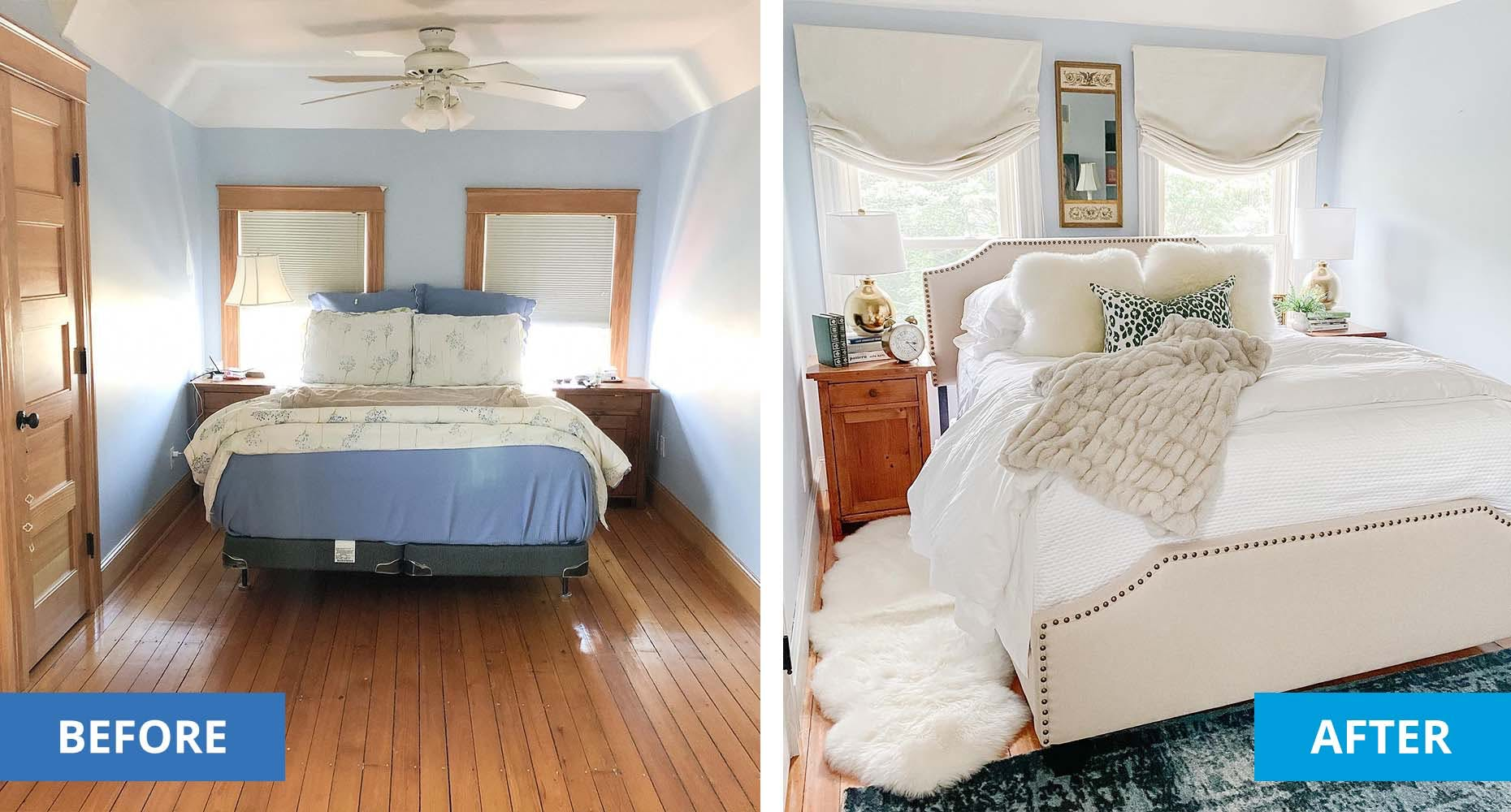 Left shows a plain bedroom pre-makeover. Right shows the same bedroom with fresh paint, new furniture and new window treatments.