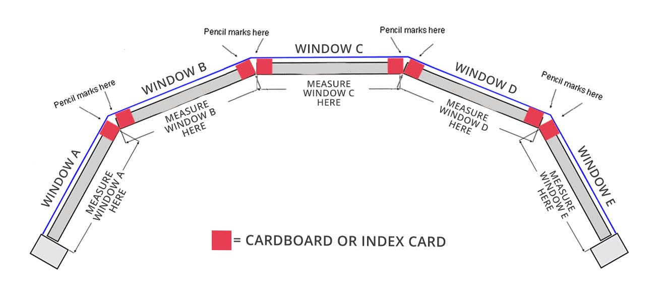 diagram showing how to measure a bow window.