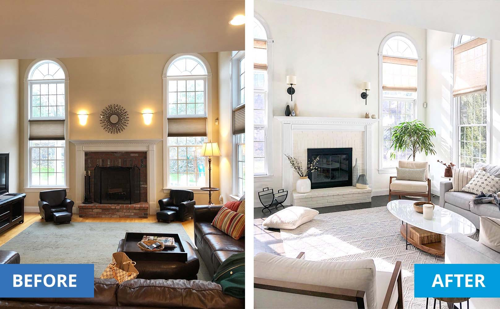 Left is a dark living room. Right is the same living room brightened by new, light toned couches, white wall paint and woven wood shades.