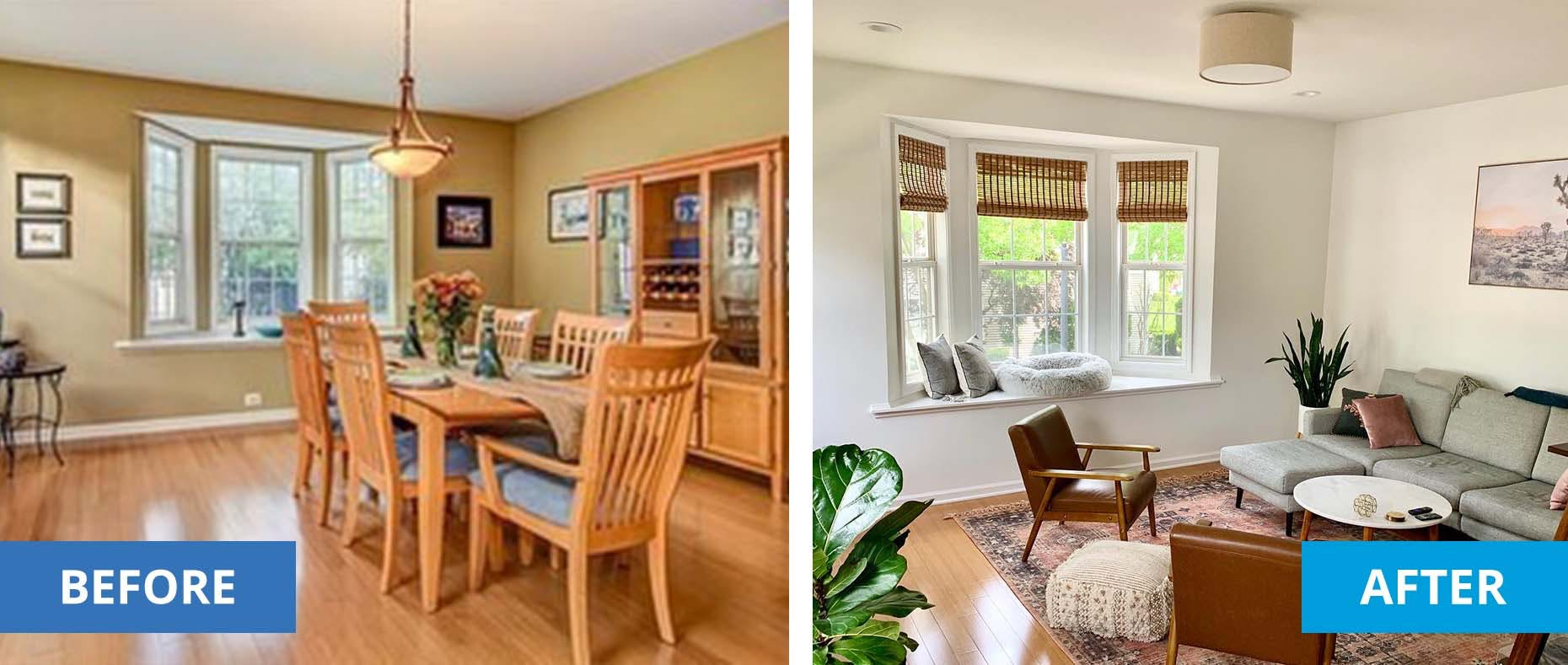 Left is a beige, plain dining room. Right is the same room converted into a living room with white walls and woven wood shades.
