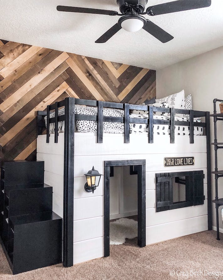 kids built in playhouse bed with chevron reclaimed wood wall