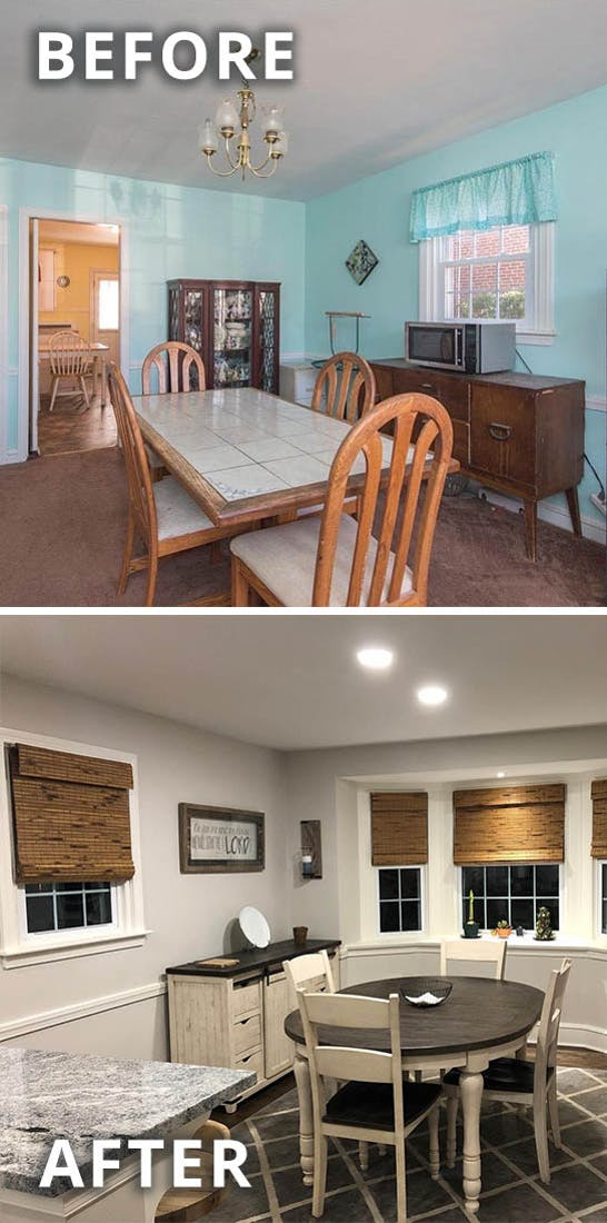 before and after photos comparing a simple dining room that gets a style upgrade into a modern farmhouse dining room.